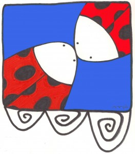 "Ilustración ""Mantangorri Hug & Kiss"" by mpb"