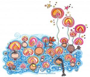 """Ilustración """"Mar de fueguitos"""" by mpb"""