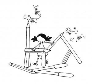 """Ilustración """"Preparando las pinturas"""" by mpb"""