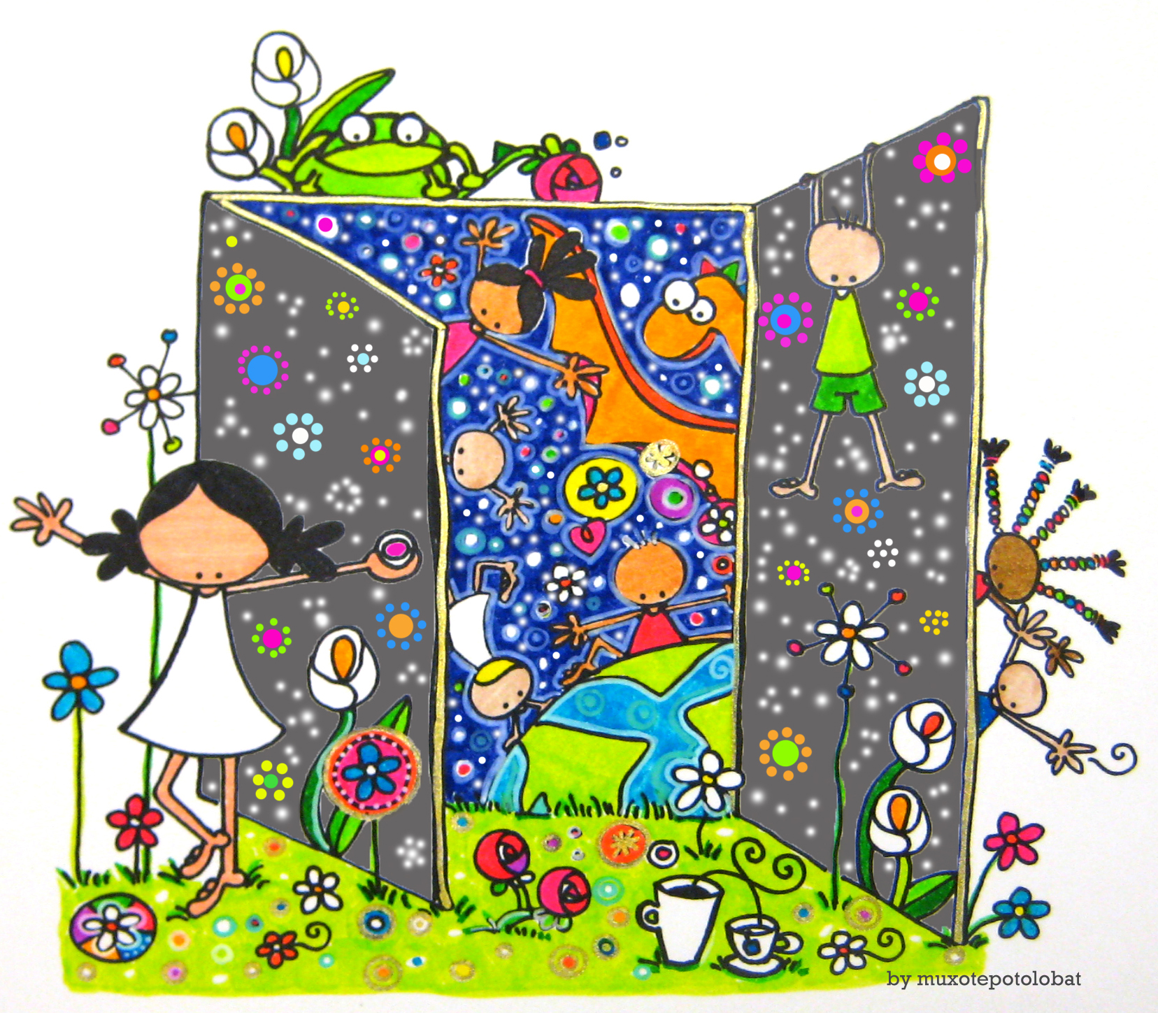 """Ilustración """"Ongietorri!! ¡¡Bienvenidos/as!! Welcome!! Bienvenue!!"""" by mpb"""