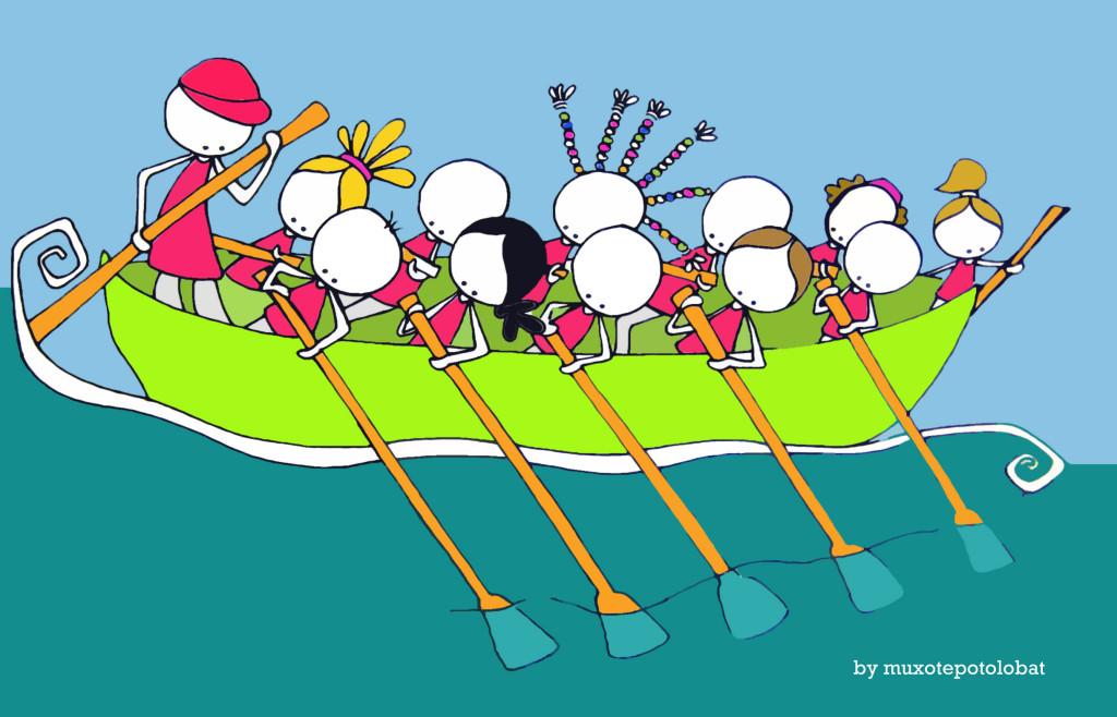 Boga!! Elkarrekin. Remando juntos/as. Rowing together.